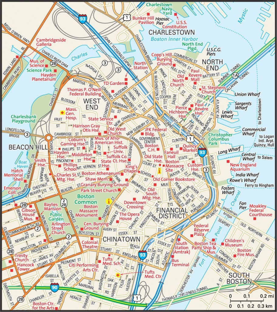 Map Of Downtown Boston | Downtown Boston Street Map | Places - Boston Tourist Map Printable