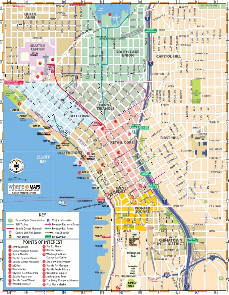 Map Of Downtown Seattle: Interactive And Printable Maps | Wheretraveler - Printable Map Of Downtown Seattle