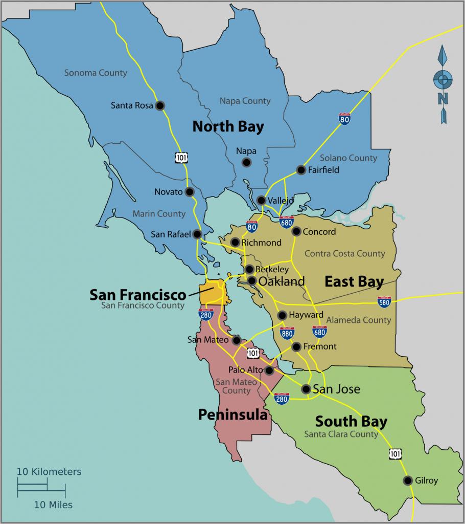 Map Of East Bay Area California | Secretmuseum - Map Of San Francisco Area California