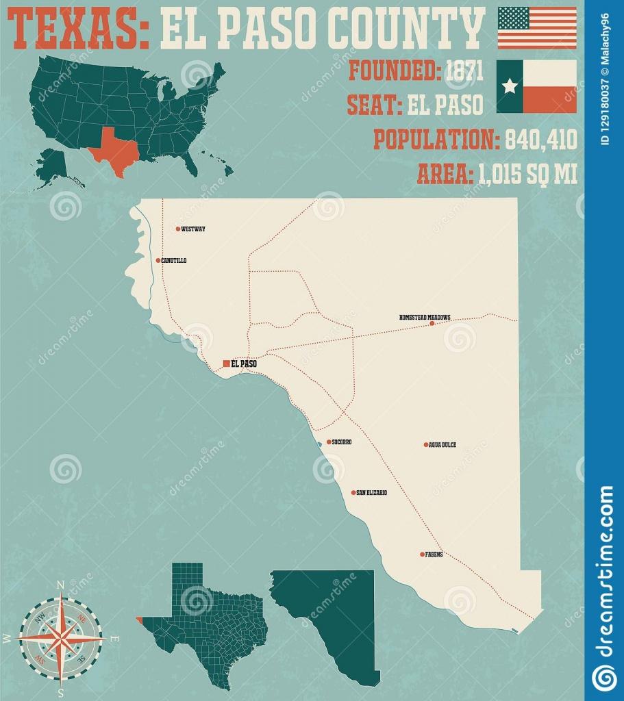 Map Of El Paso County In Texas Stock Vector - Illustration Of Brown - El Paso County Map Texas