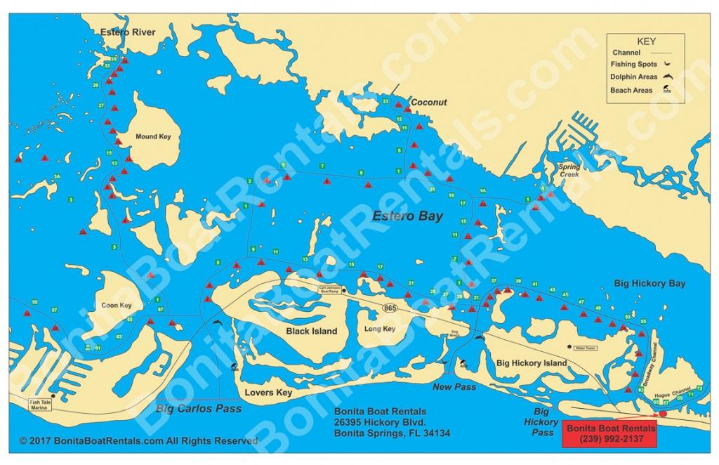 Map Of Estero Bay | Fishing Spots | Beaches | Bonita Boat Rentals - Estero Beach Florida Map