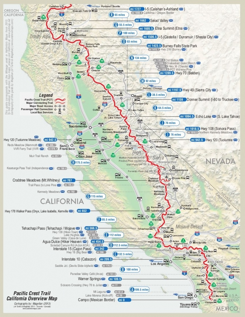 Map Of First Half Of Pct | Dean's Pacific Crest Trail Hike - Pct Map California