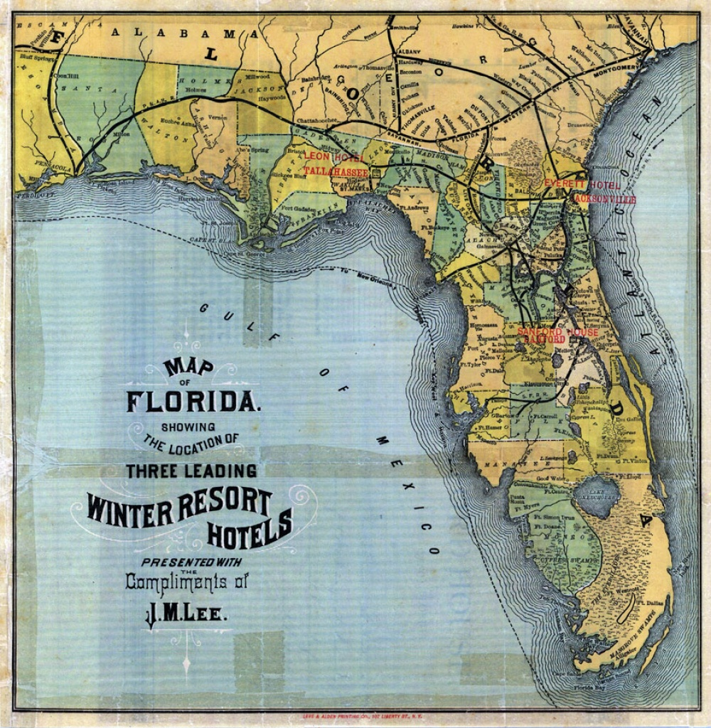 Map Of Florida: 3 Leading Winter Resort Hotels, 1885 - Florida Map Hotels