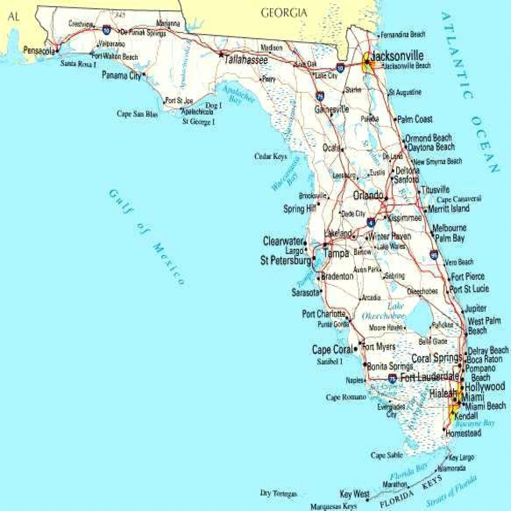Map Of Florida Cities On Road West Coast Blank Gulf Coastline - Lgq - Florida Gulf Coastline Map