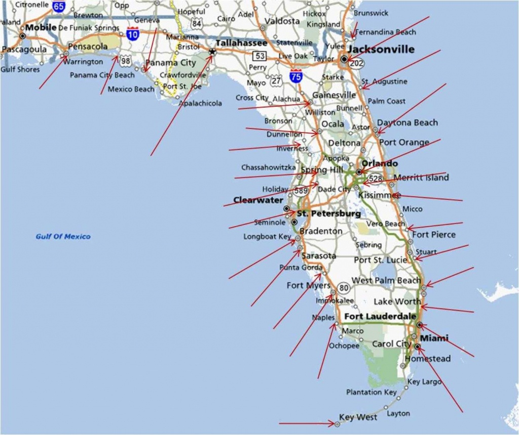 Map Of Florida Coastline - Lgq - Map Of Florida West Coast Towns