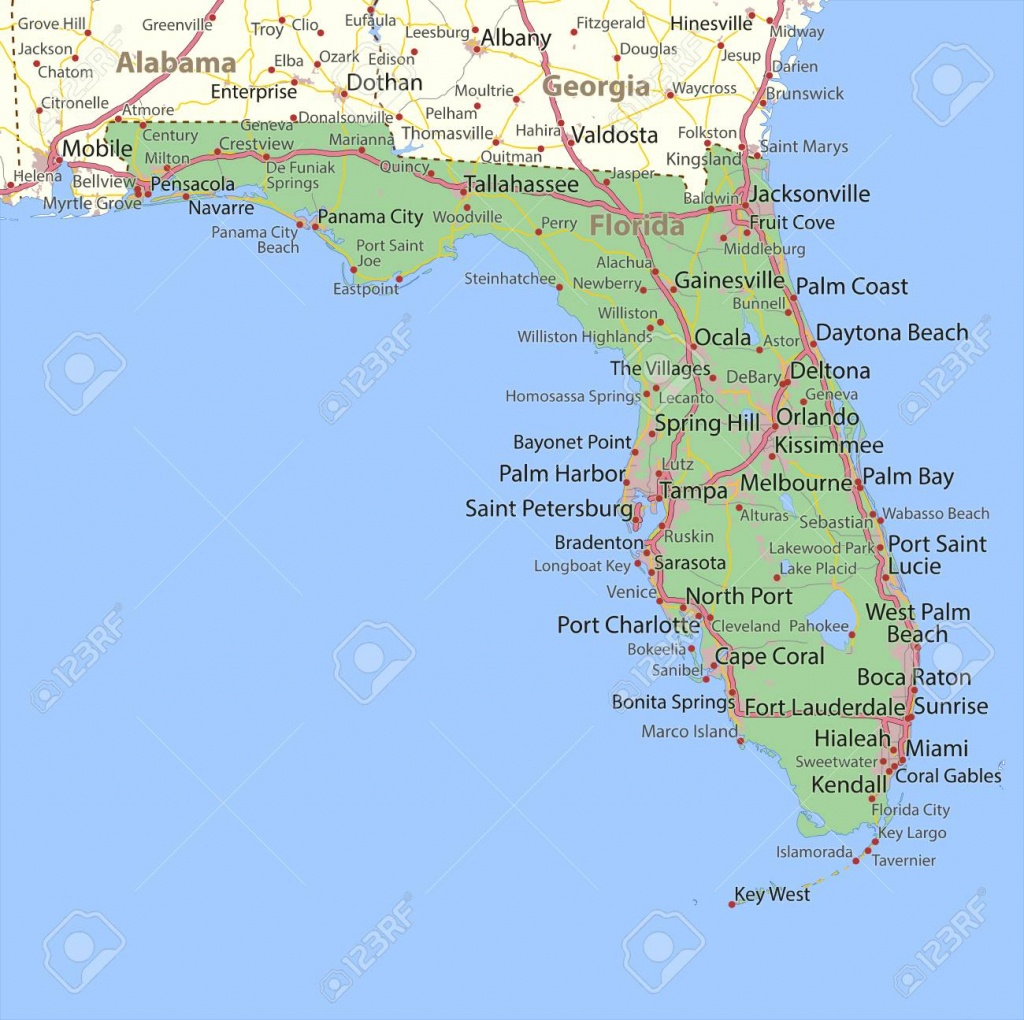 Map Of Florida. Shows State Borders, Urban Areas, Place Names - City Map Of Palm Harbor Florida