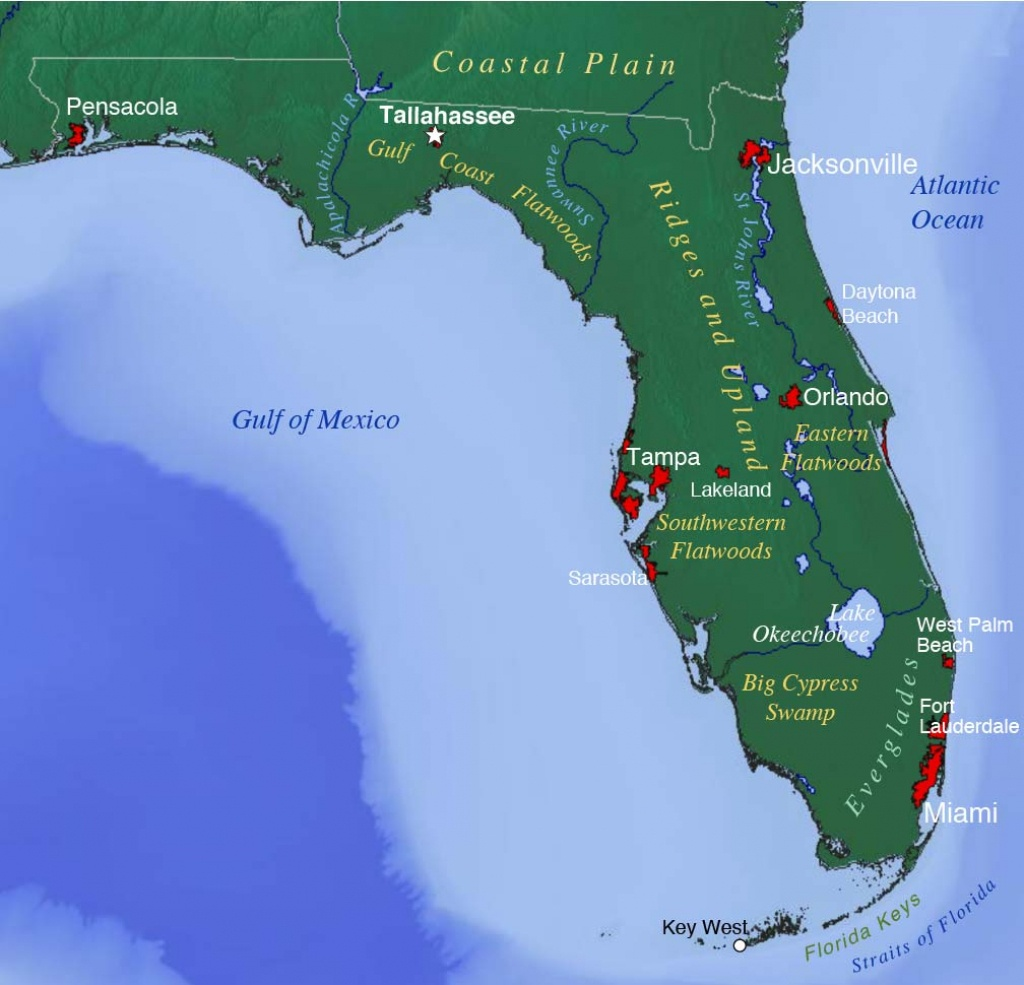 Map Of Florida Usa Counties With Cities Beaches West East Coast Airports - Cypress Key Florida Map