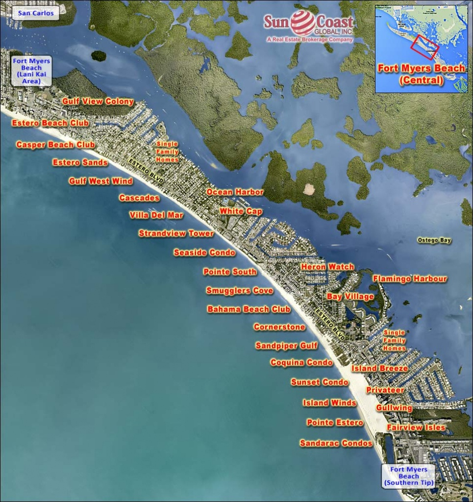Map Of Fort Myers Beach | Dehazelmuis - Map Of Fort Myers Beach Florida