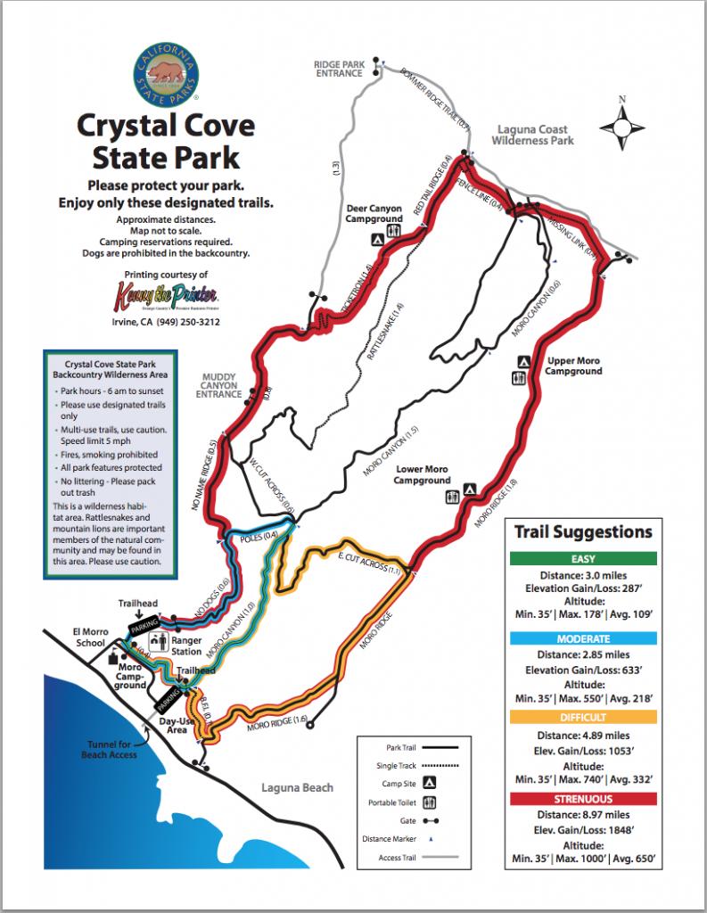 Map Of Hiking Trails   Crystal Cove - Laguna Beach California Map