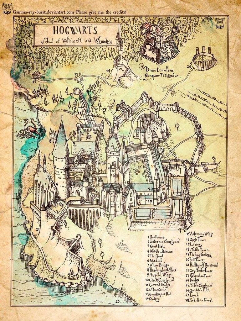 Map Of Hogwarts School Of Witchcraft And Wizardry | Harry Potter - Hogwarts Map Printable