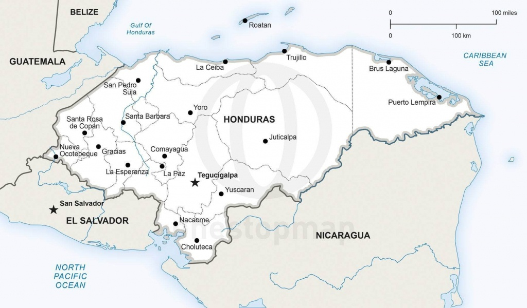 Map Of Honduras Political - Printable Map Of Honduras