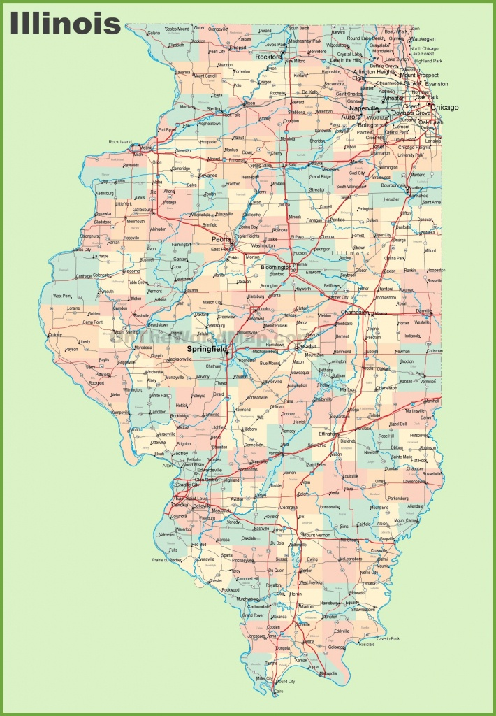 Map Of Illinois With Cities And Towns   State Maps   Highway Map, Us - Illinois State Map Printable