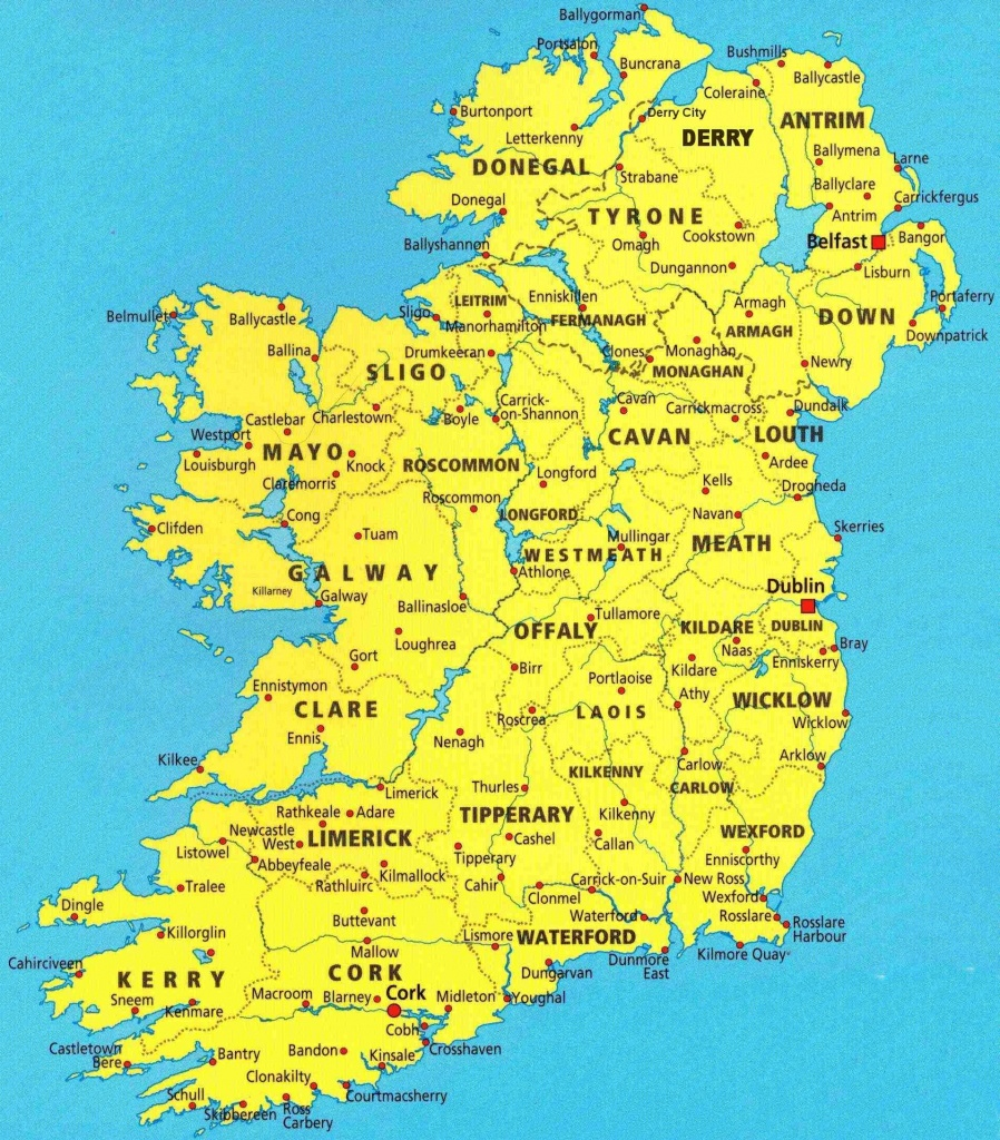 Map Of Irish Cities And Travel Information | Download Free Map Of - Printable Map Of Ireland Counties And Towns