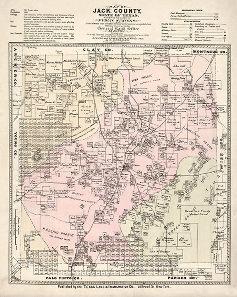 Map Of Jack County Texas Tx  1876. Shows Ownership.   Etsy - Jack County Texas Map