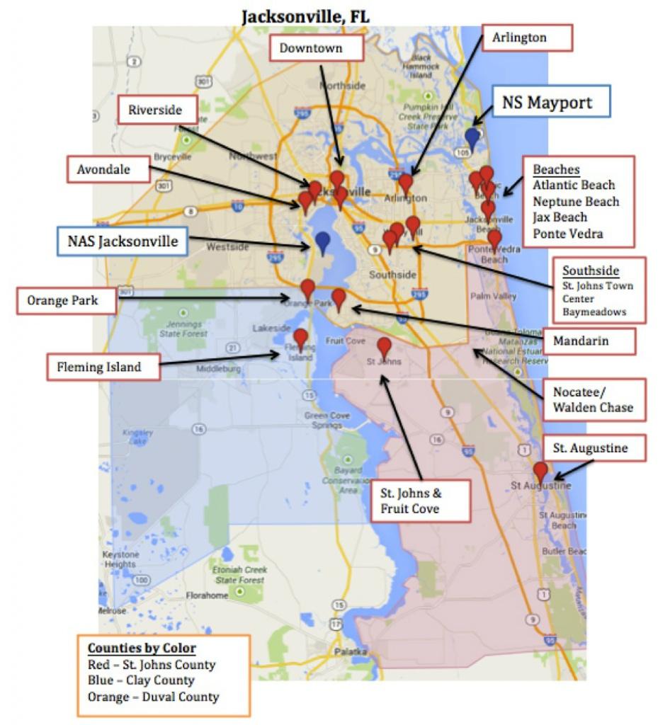 Map Of Jacksonville & Mayport, Florida | Military Town Advisor - Florida Navy Bases Map