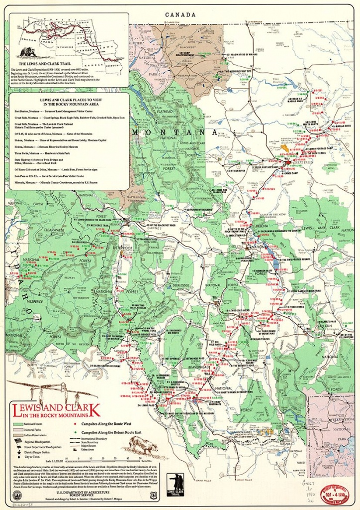 Map Of Lewis And Clark In Rocky Mountains. Print Poster 4829 - Lewis And Clark Printable Map