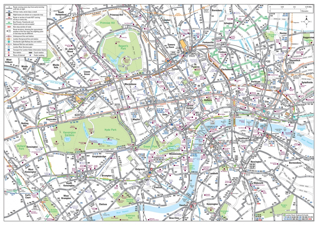 Map Of London Bus & Night Bus: Stations & Lines - Central London Map Printable