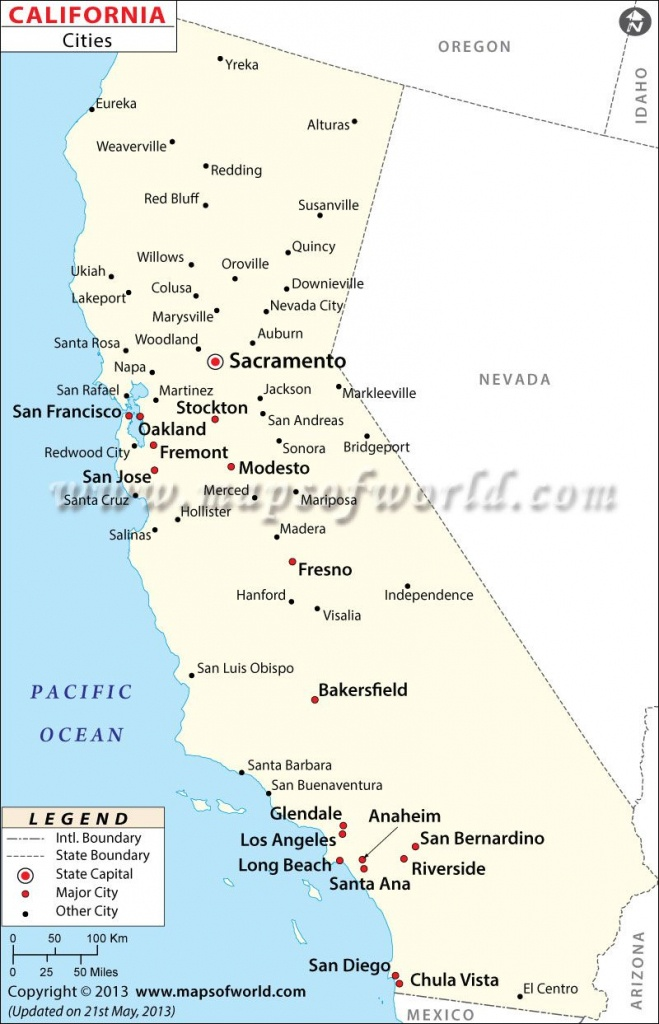 Map Of Major Cities Of California   Maps In 2019   California Map - Map Of California Cities And Towns