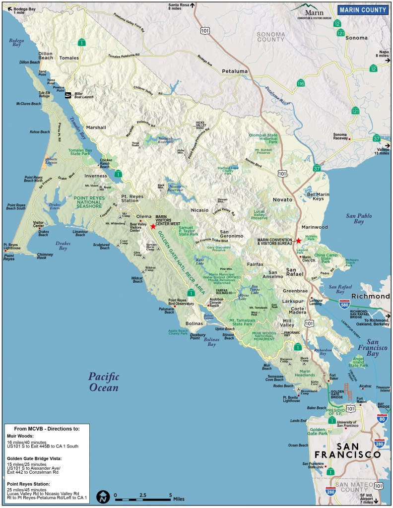 Map Of Marin & Directions - Maps & Transportation   Marin Convention - Marin County California Map