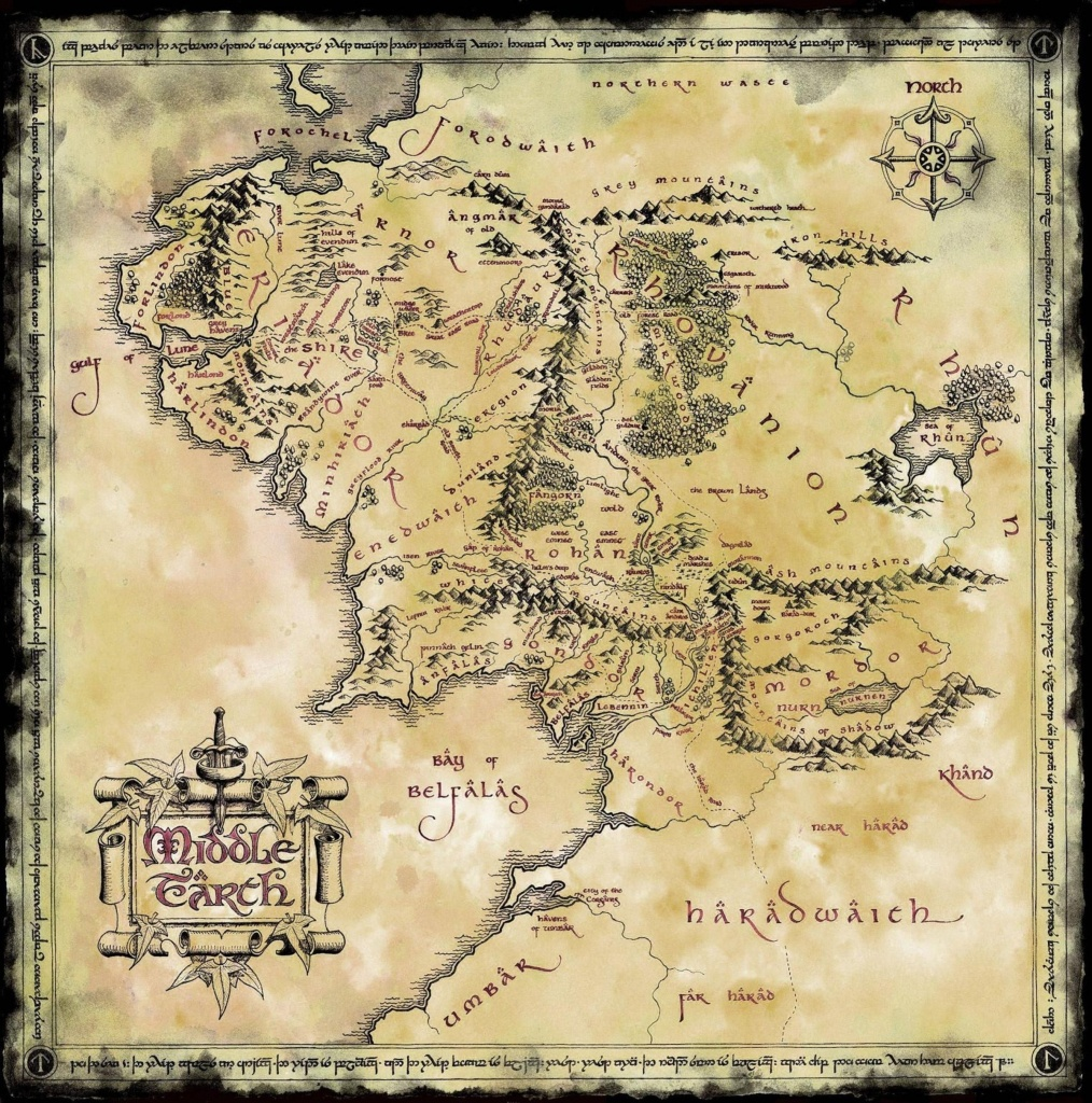 Map Of Middle Earth (2400X2424) In 2019 | Paige's Gift | Middle - Printable Lord Of The Rings Map