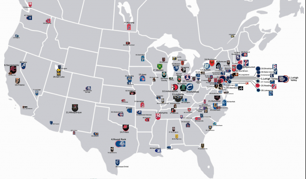 Map Of Mlb Ballparks Baseball Teams In Us Minor Leagues 0 Refrence - Printable Map Of Mlb Stadiums