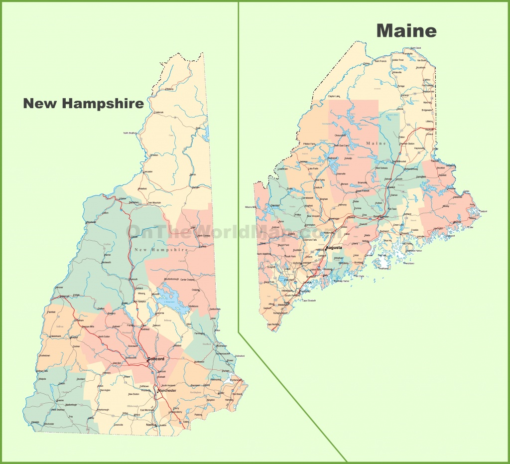 Map Of New Hampshire And Maine - Printable Map Of Maine