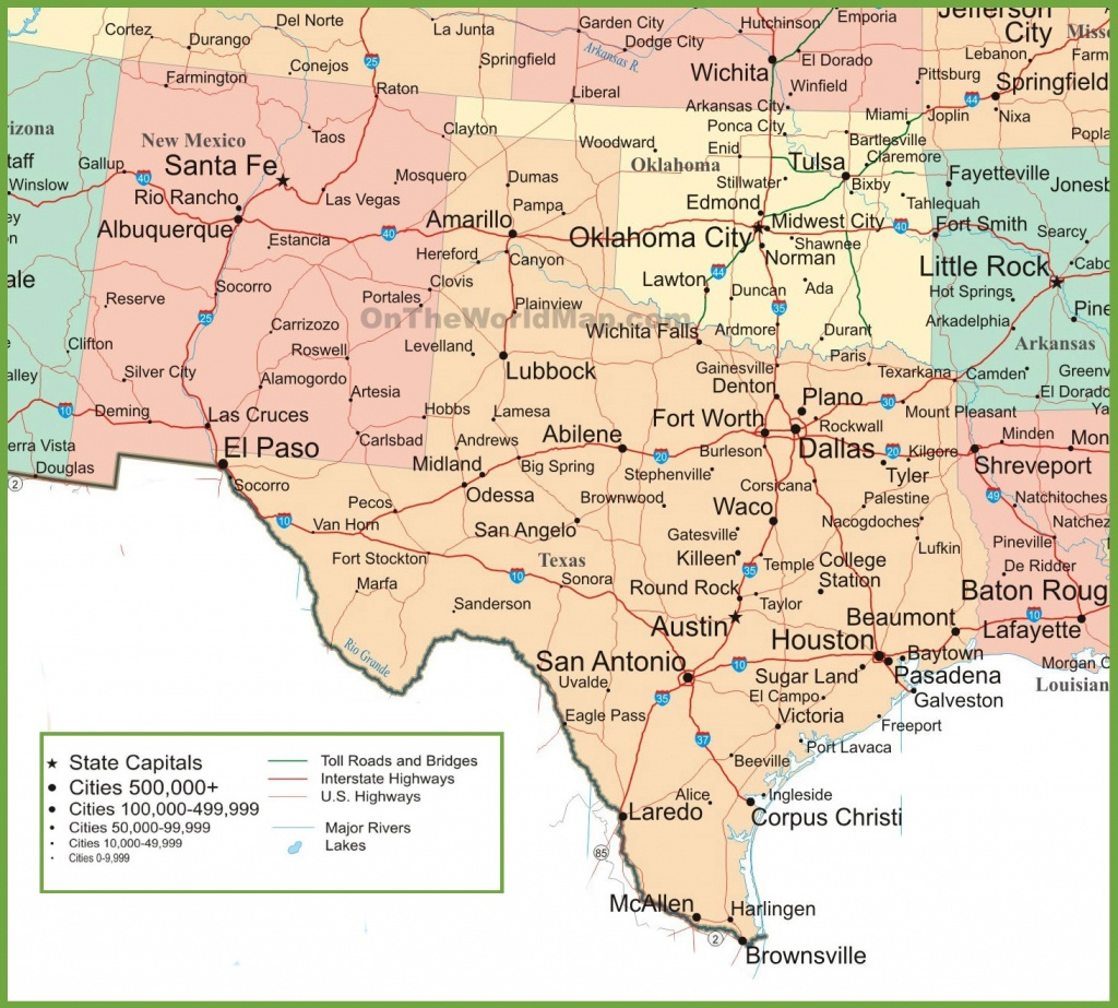 Map Of New Mexico, Oklahoma And Texas - Texas Road Map With Cities And Towns