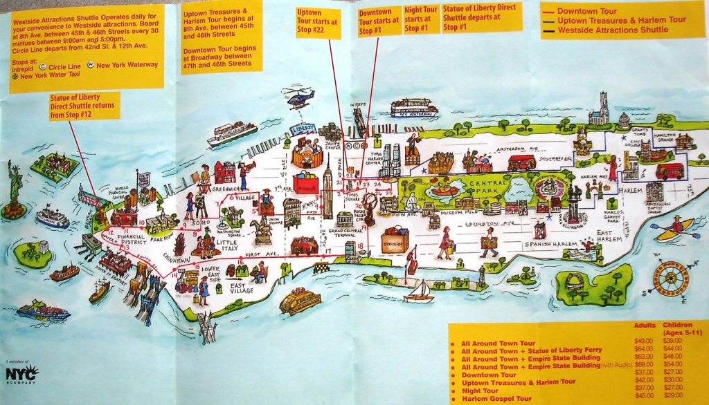 Map Of New York City Attractions Printable | Manhattan Citysites - Printable Map Of Nyc Tourist Attractions