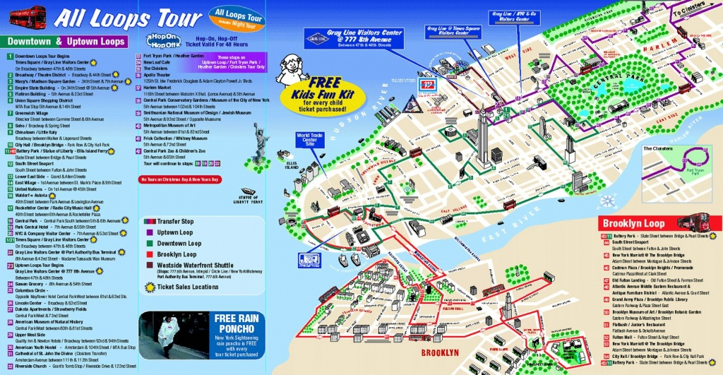 Map Of New York City Attractions Printable    Tourist Map Of New - Manhattan Sightseeing Map Printable