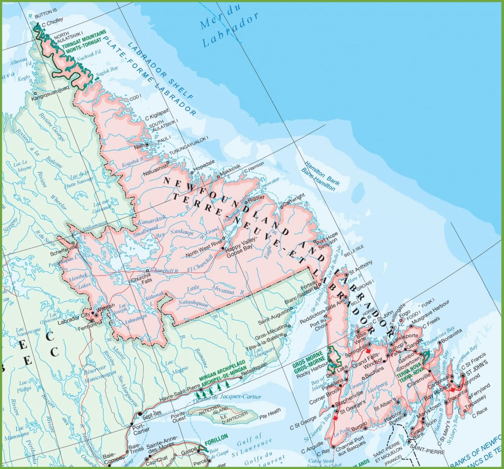 Map Of Newfoundland Canada And Travel Information   Download Free - Printable Map Of Newfoundland