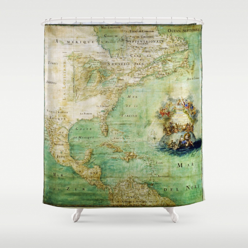 Map Of North And Central America (C. 1681) Shower Curtainthearts - Florida Map Shower Curtain