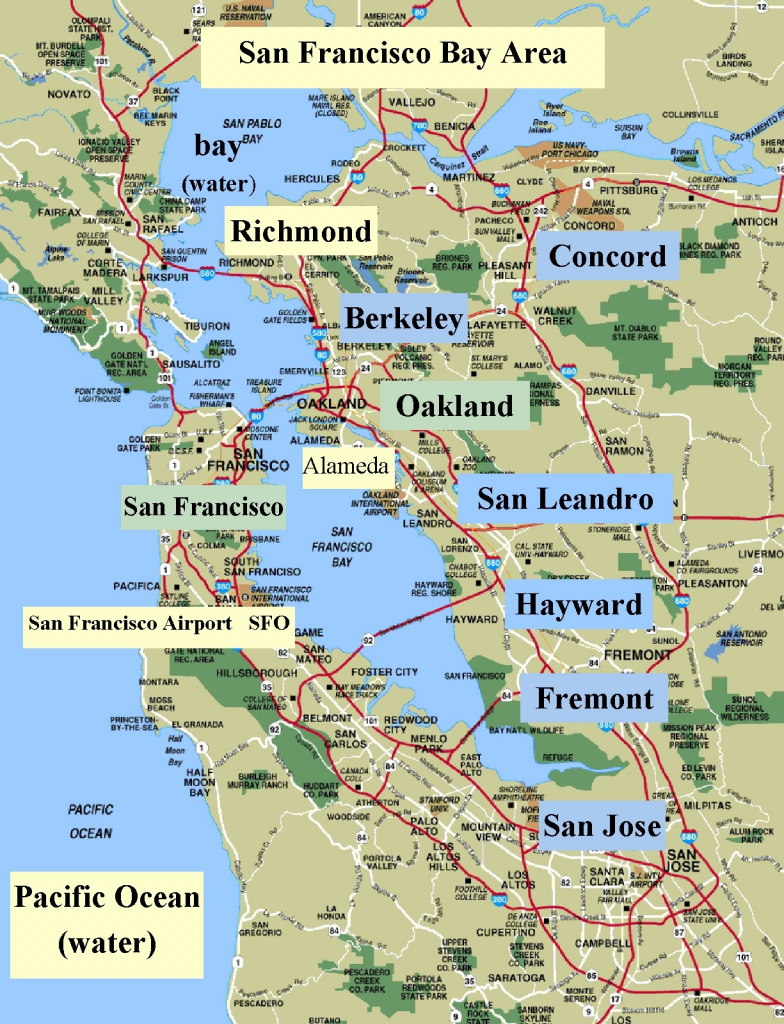 Map Of Northern California Cities Simple Sanfrancisco Bay Area And - San Francisco Bay Area Map California