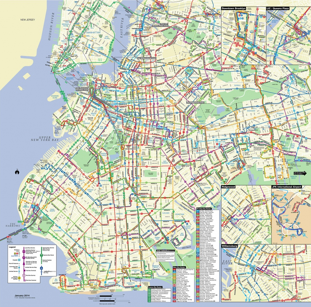 Map Of Nyc Bus: Stations & Lines - Printable Map Of Brooklyn Ny Neighborhoods