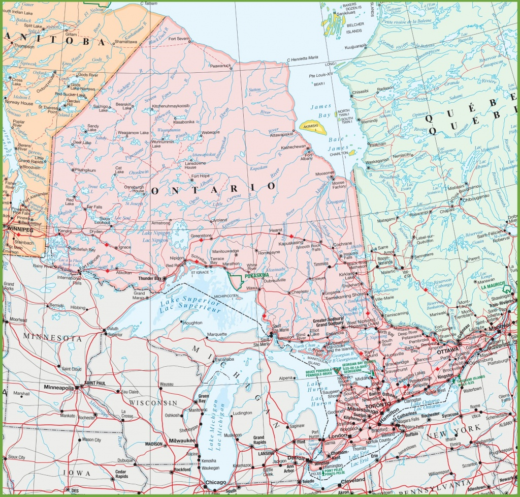 Map Of Ontario With Cities And Towns - Printable Map Of Canada With Cities