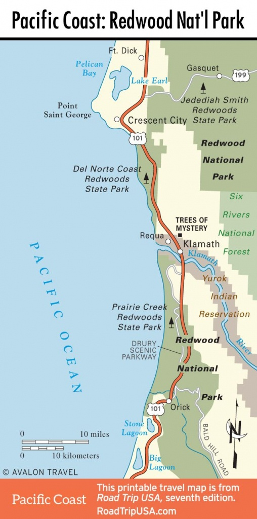Map Of Pacific Coast Through Redwood National Park. | Pacific Coast - California Redwood Parks Map