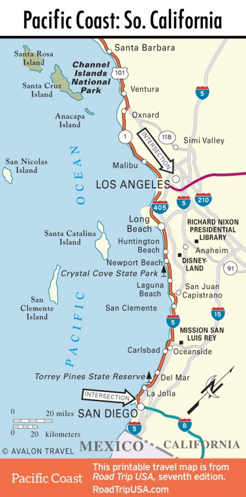 Map Of Pacific Coast Through Southern California. | Southern - Printable Map Of California Coast