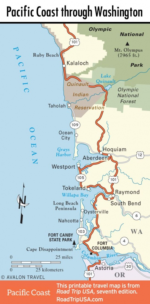 Map Of Pacific Coast Through Southern Washington Coast.   Bucket - Washington Oregon California Coast Map