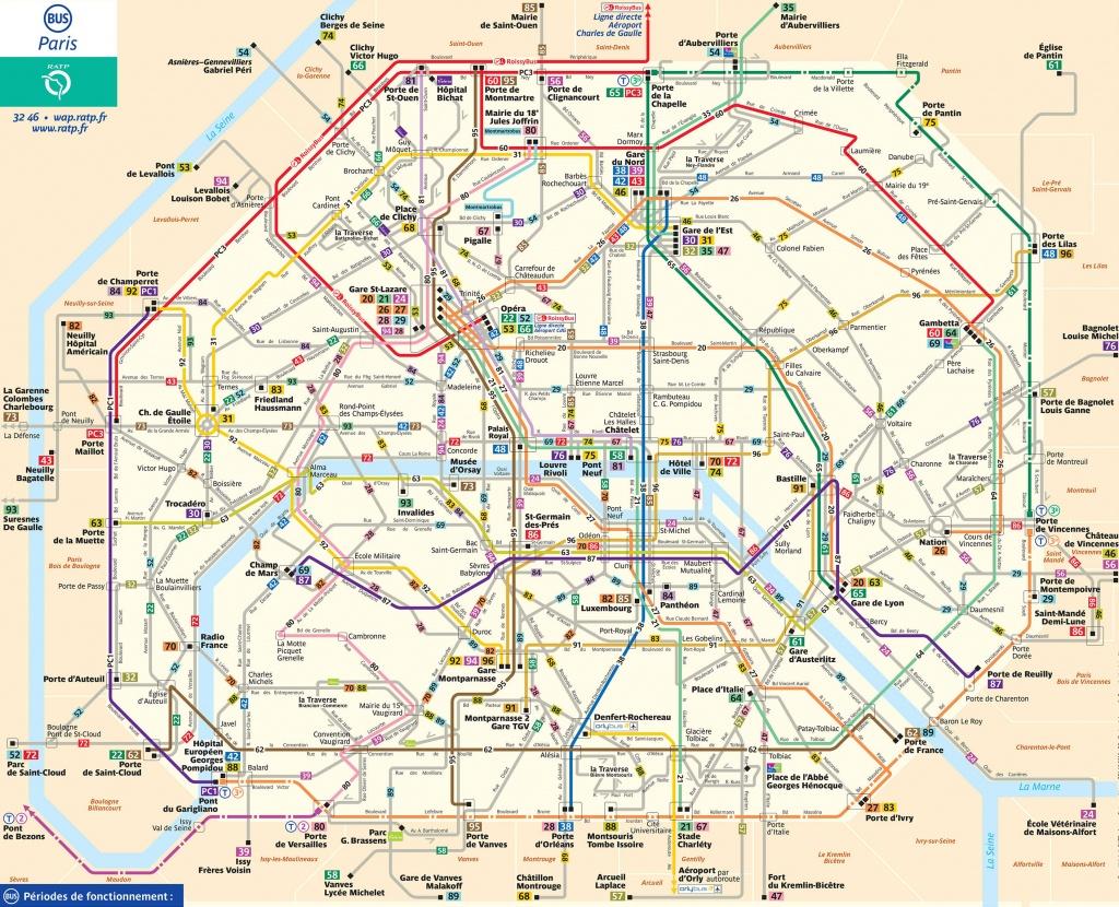 Map Of Paris Bus & Noctilien: Stations & Lines - Map Of Paris Metro Printable