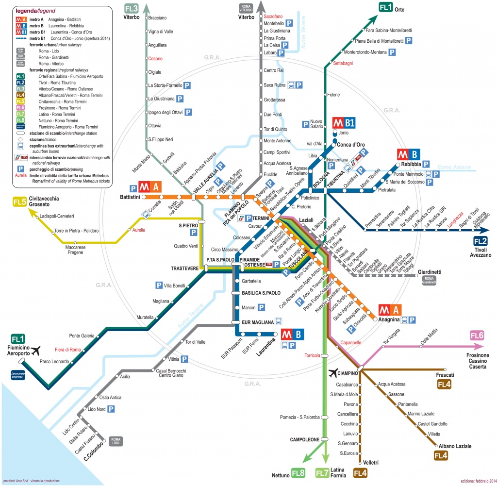Map Of Rome Subway, Underground & Tube (Metropolitana): Stations & Lines - Printable Rome Metro Map