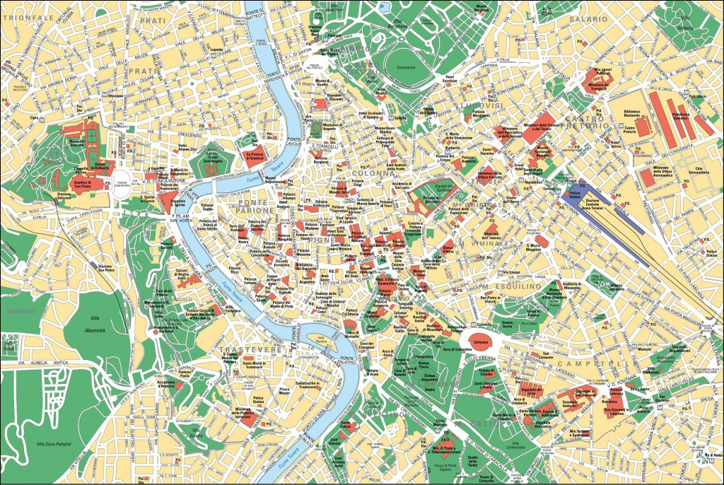 Map Of Rome Tourist Attractions, Sightseeing & Tourist Tour - Printable Map Of Rome Attractions