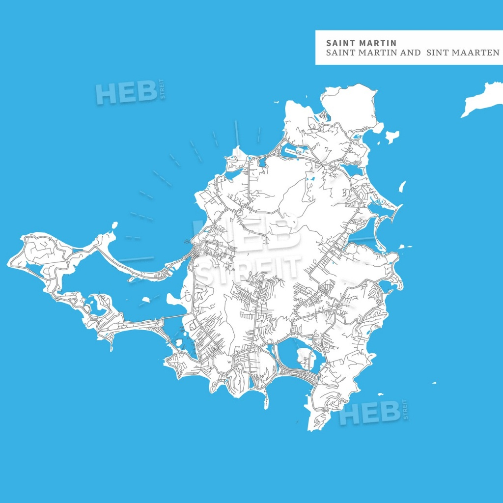 Map Of Saint Martin Island   Hebstreits Sketches - Printable Road Map Of St Maarten