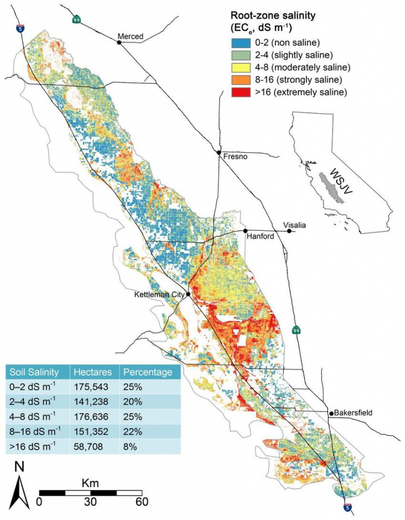 Map Of Salt-Affected Soils For The West Side Of California's San - California Soil Map