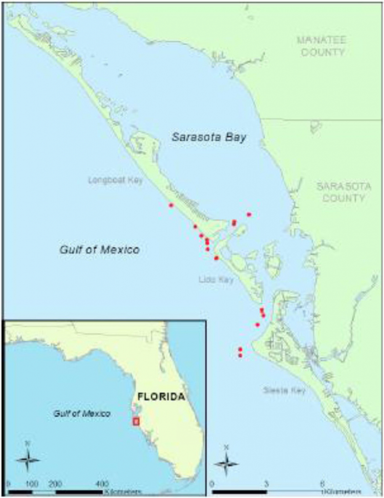 Map Of Sampling Area Off Sarasota, Fl Showing Locations Of A - Map Of Sarasota Florida And Surrounding Area