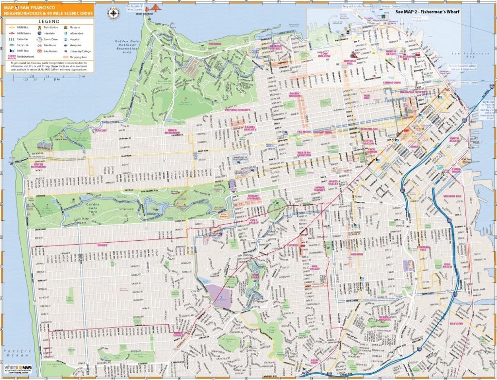 Map Of San Francisco: Interactive And Printable Maps   Wheretraveler - Map Of San Francisco Attractions Printable