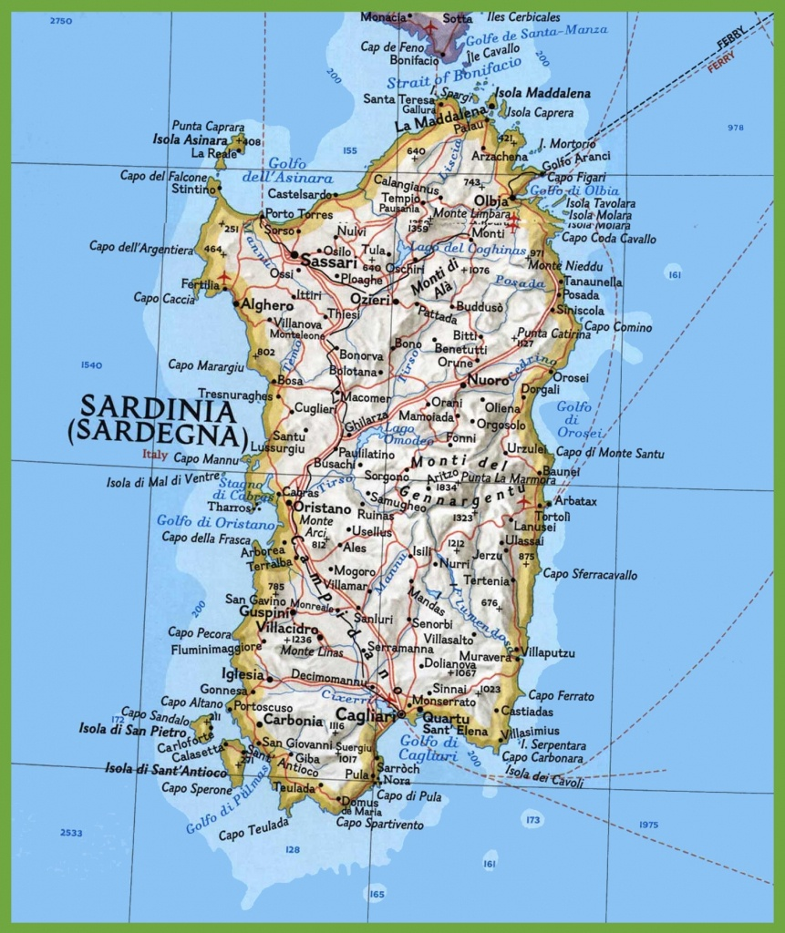 Map Of Sardinia With Cities And Towns - Printable Map Of Sardinia