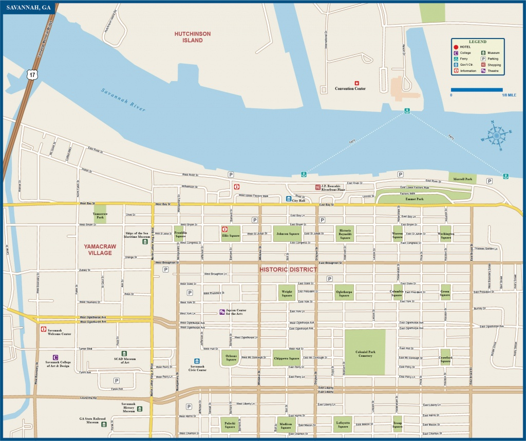 Map Of Savannah Airport Historic District Squares Area River Site Free - Printable Map Of Savannah Ga