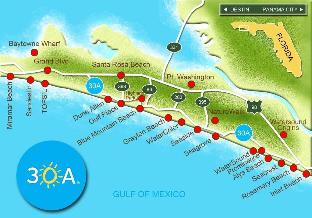 Map Of Scenic 30A And South Walton, Florida - 30A Panhandle Coast - Florida Gulf Coast Beaches Map