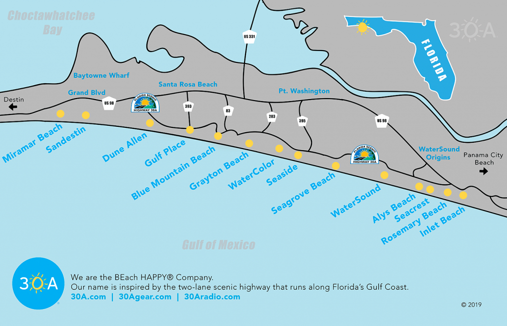 Map Of Scenic 30A And South Walton, Florida - 30A - Where Is Seacrest Beach Florida On The Map