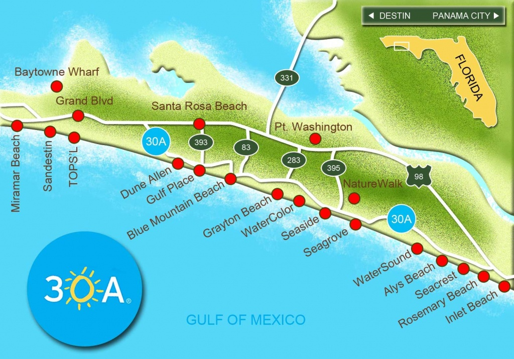 Map Of Scenic Highway 30A/south Walton, Fl Beaches | Florida: The - Where Is Destin Beach Florida On The Map