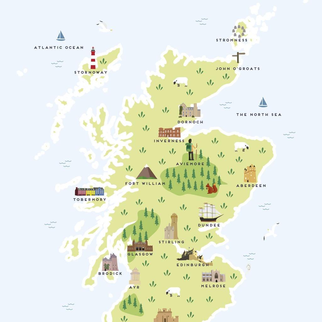 Map Of Scotland Printpepper Pot Studios | Notonthehighstreet - Printable Map Of Scotland